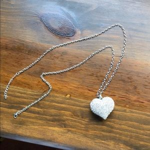 Silver Heart with Gems Necklace